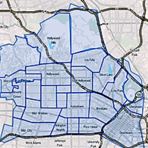 Map central los angeles region of los angeles  california