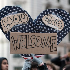 You are welcome sign  thursday evening rally against trump's  muslim ban  policies sponsored by freedom muslim american women's policy %2832165557100%29 %281%29
