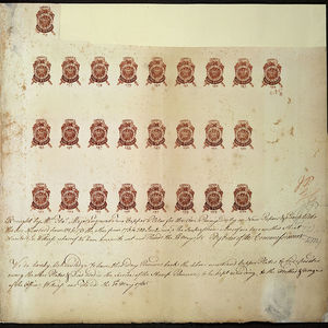 1024px proof sheet of one penny stamps stamp act 1765